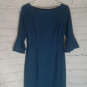 White House Black Market Teal Ruffle Sleeve dress